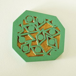 Geometric Hand Mirror Mini (sharp eyes - cobalt green)