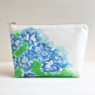 Blue garden gusseted pouch Flower pattern New color Blue B