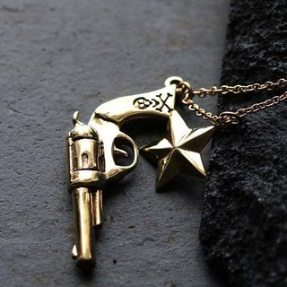 Gun and Star Necklace by Defy / Bunny Skull Charm Brass Pendant Necklace Jewelry.