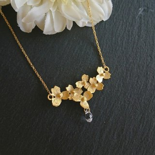 14kgf, mat gold flower necklace