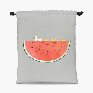 Drawstring Pouch - 束口袋 - duckies and watermelon