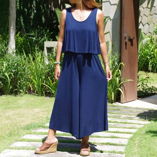 Adult sleeveless wide pants all-in-one <navy>