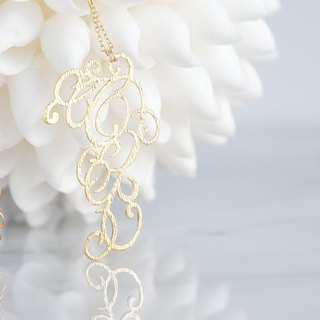 【14 KGF】 Long Necklace, Matt Gold Elegant Filigree