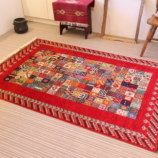 Cute red hand-woven carpet wool and plant dyeing handmade rug 178 × 120cm