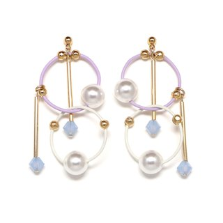cosmos-pink white beads earrings · earrings