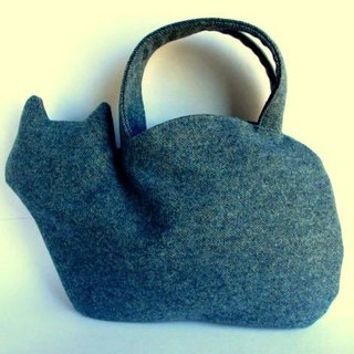 Wool flannel winter cat bag blue gray