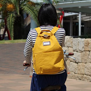 camp: Yellow Kurashiki canvas backpack