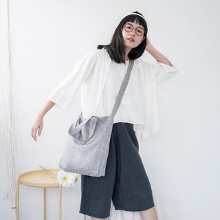 Casual 2 Ways Linen Tote Bag (Smart Grey)