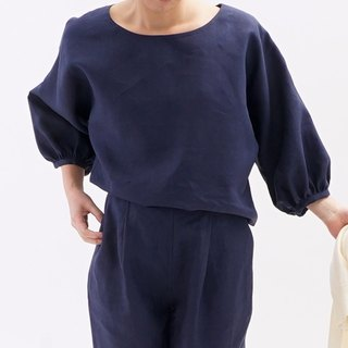 Gathered cuffs / navy midweight Belgium linen dolman sleeve t12-6