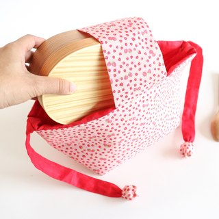 "Japanese style bento bag. ""Pink Strawberry "" Lunch bag."