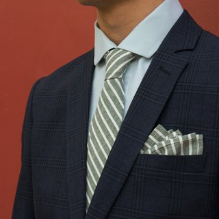 CAVEMAN Pocket Square - Green Linen Stripe