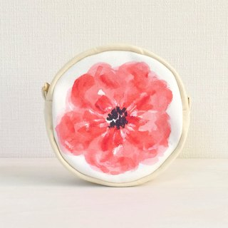 Bloom Flower Circle Pouch Floral Pattern Red
