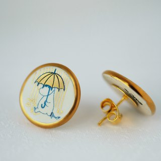 Ceramic earring - SNORKMAIDEN in raining day