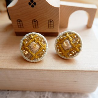 Autumn Vintage handmade embroidered Earring