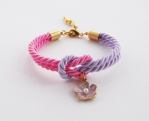 Pink and purple tie the knot bracelet with flower charm