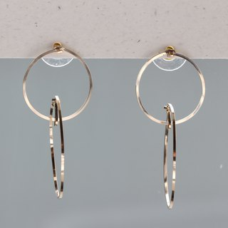 14 kgf - Floating in the ring pierced earrings (can change to clip - on)