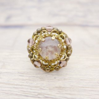 Bouquet of brass and glass, gorgeous ring, Pale pink