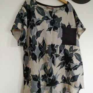 Water COLOR touch floral  blouse/Linen100%