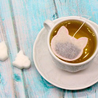 Tea Gift Box Handmade 15 Pink Cat Shaped Tea Bags + 4 Cat Sugar Cubes/Tea Lover