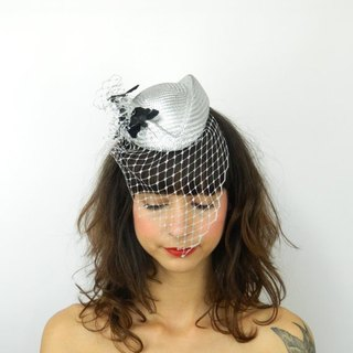 Hat Fascinator Headpiece Pillbox in Silver with Feathered Butterflies and Cascading Veil, Statement Cocktail Party Hat, Occasion Headwear