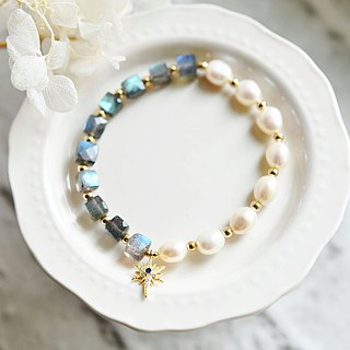 Ability Capable to flower Labradorite and Kessypearl bracelet carrying happiness August birthstone June birthstone