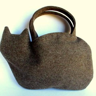 Wool Flannel Cat Bag Brown