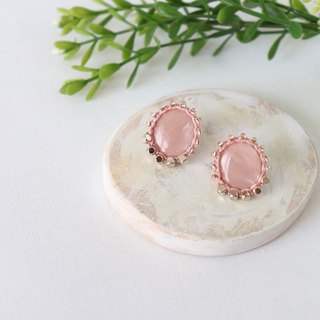 Thread and bead art earrings     Ash pink