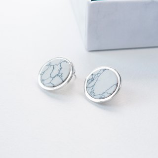 石纹。白松石片小耳环 WHITE HOWLITE SILVER CIRCLE EARRING 02