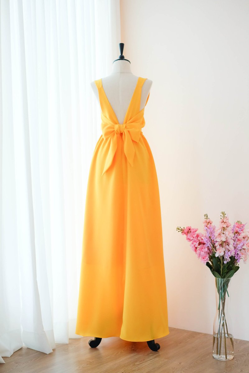 Hot Yellow Dress Bridesmaid backless party Cocktail dress
