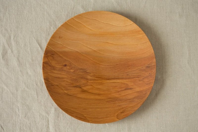 Wood 24cm of the potter's wheel ground wooden plate chestnut (land) 05