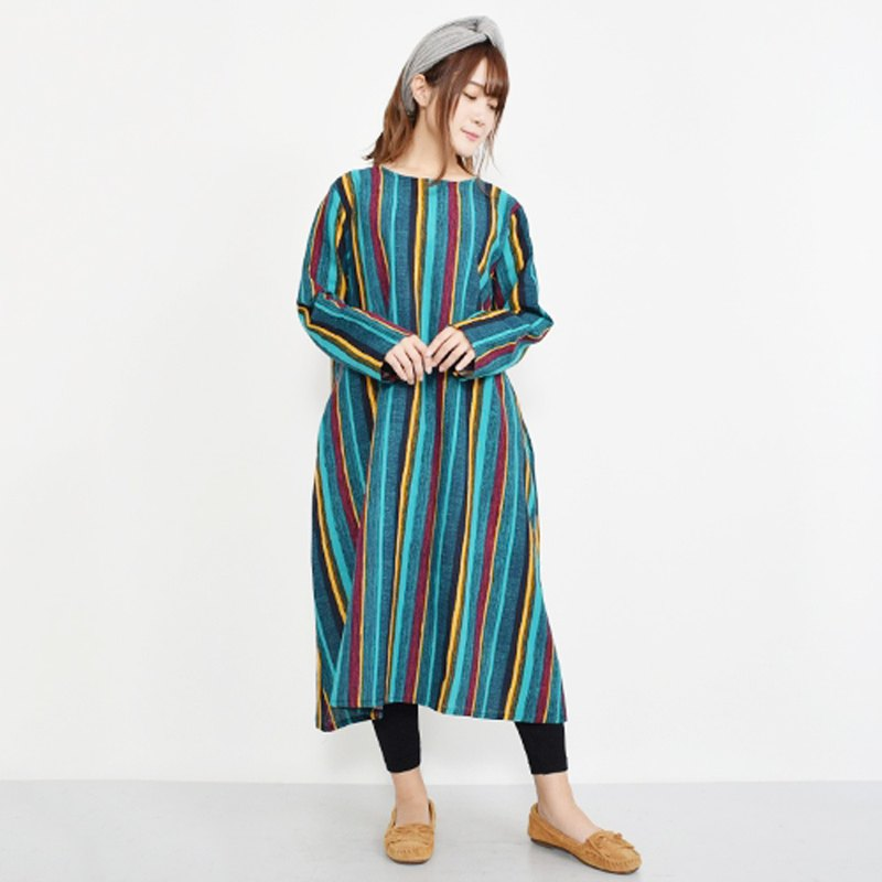 Colorful ethnic striped long-sleeved dress