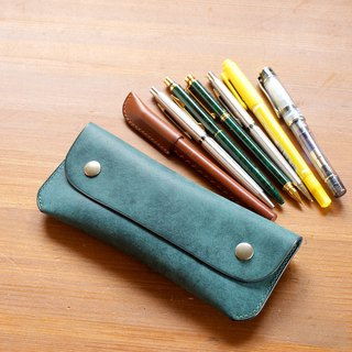 Leather Pen Case Pen Case Petrolio