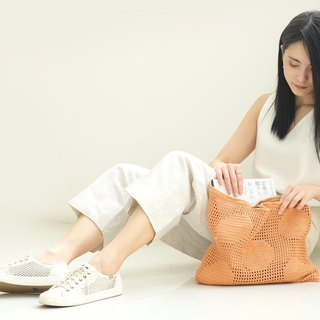 Crochet Polka Dot Tote Bag | Apricot