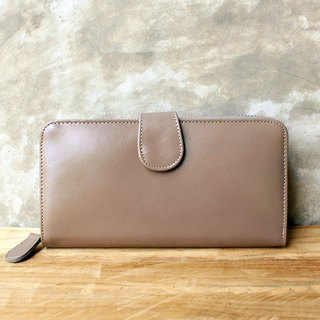 Leather Wallet - Zip Around Plus - Grey (Genuine Cow Leather)