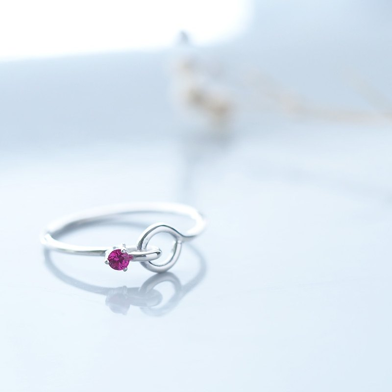 Ruby stone wire ring silver