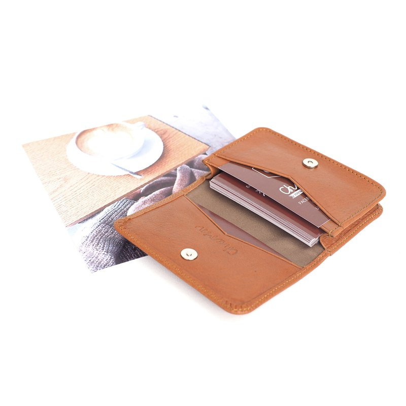 Classic card (caramel Brown), Name card case, card case, cow leather