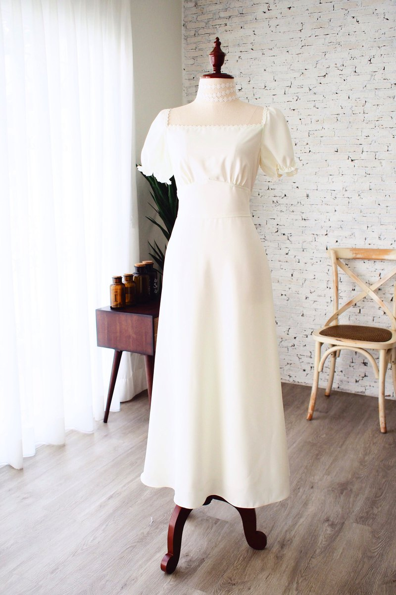 Snow White Off White Wedding Gown Bridesmaid Prom Dress Vintage Party Dress