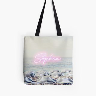 Personalized beach print tote Bag