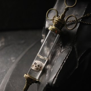 Syringe with Skull Necklace by Defy/Hand - Painting Version/Skull Necklace/Syringe Charm Necklace/Rock Necklace/Brass Necklace