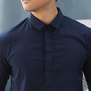 White shirt with black inside collar shirt