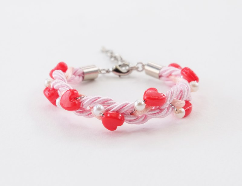 Valentine collection red heart white braided bracelet