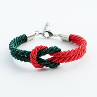 Christmas gift collection , Red/White knot rope bracelet