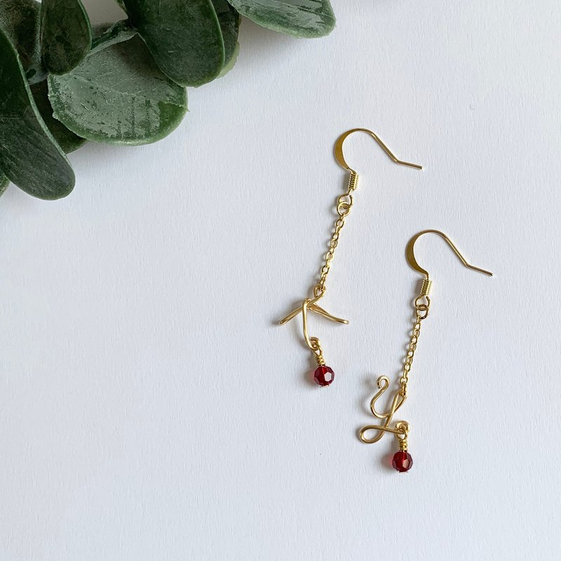 January birthstone personalized initial earring with Swarovski garnet
