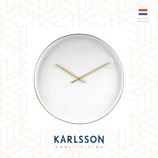 Karlsson wall clock Mr.White numbers w.brushed gold case