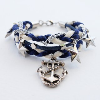 Navy blue & white nautical triple-layer braided bracelet