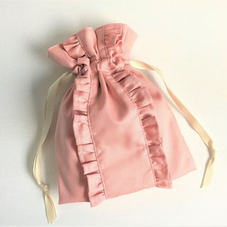 Straight Line Double Ruffle Drawstring Pouch Pink