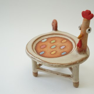 Chicken chair,Plant pot plate handmade ceramic