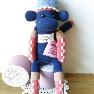 socks monkey / sleepy boy (navy)