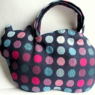 New color new work! Woolen cat bag * colorful dot navy