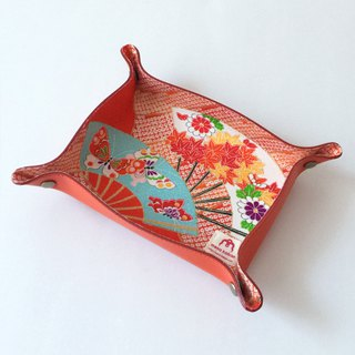 Leather tray with Japanese Traditional Pattern, Kimono